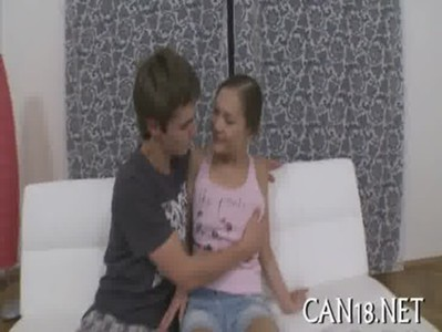 Hot teen couples fucking on white sofa