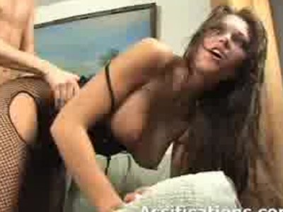 Hot busty babe rubs her pussy while getting assfucked